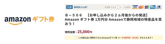 Amazonギフト券1万円(ふるなび)