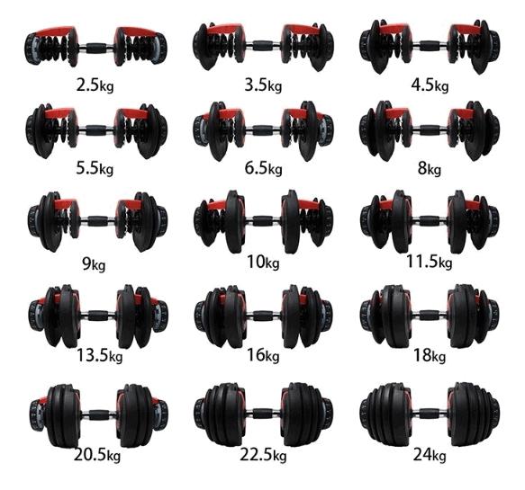 24kgアジャスタブルダンベルの重量パターン