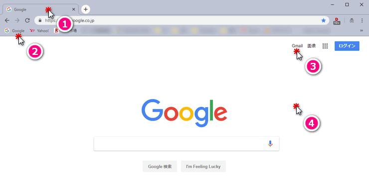 Google Chromeで中央クリックをしたときの動き