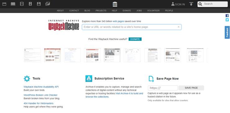 Internet Archiveのトップページ