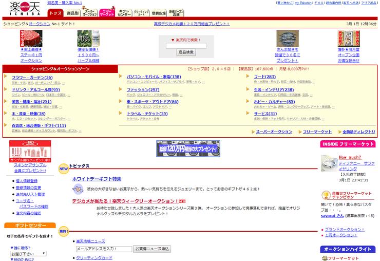 2000年の楽天市場トップページ