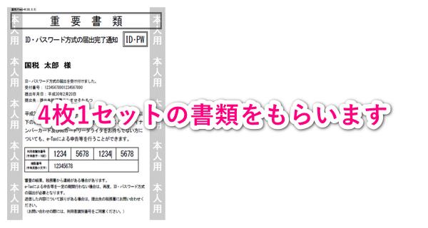 ID・パスワード方式の届出完了通知(4枚1セット)