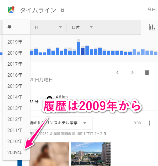 Googleマップのタイムラインは2009年から