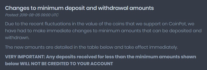 Changes to minimum deposit and withdrawal amounts