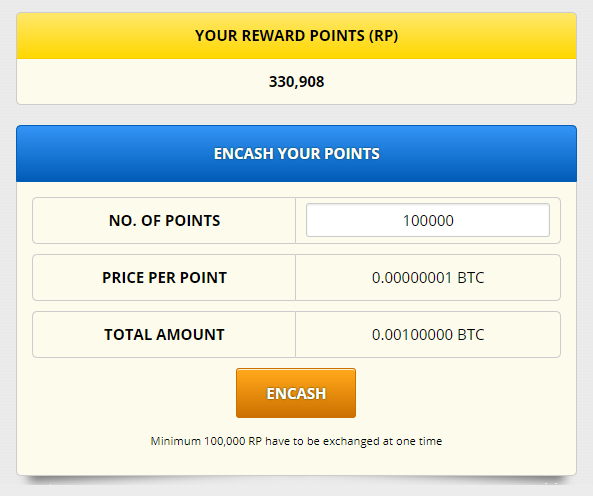 10万リワードポイントをビットコインに現金化