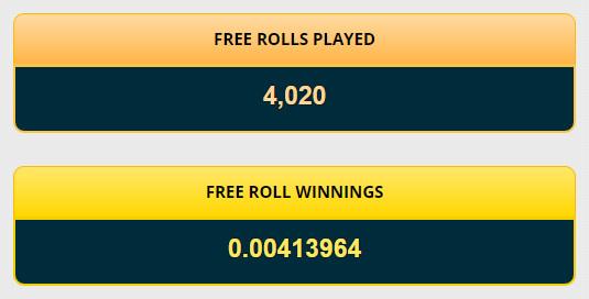 FREE ROLLの回数と累計WINNINGS