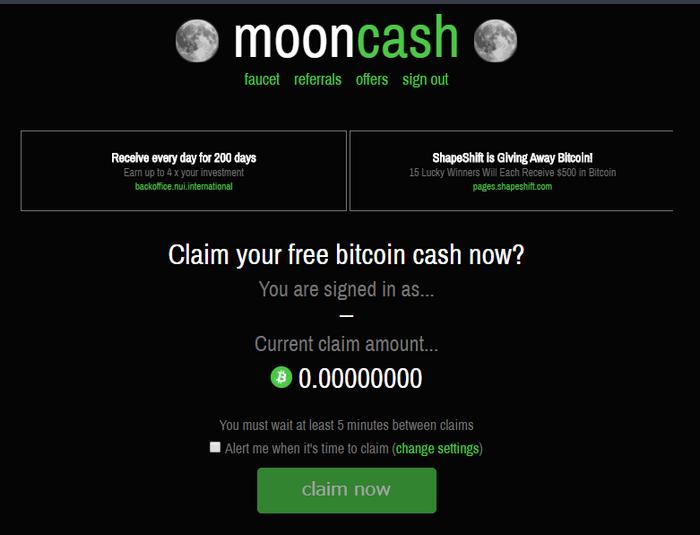 MoonCashで受け取れない状態